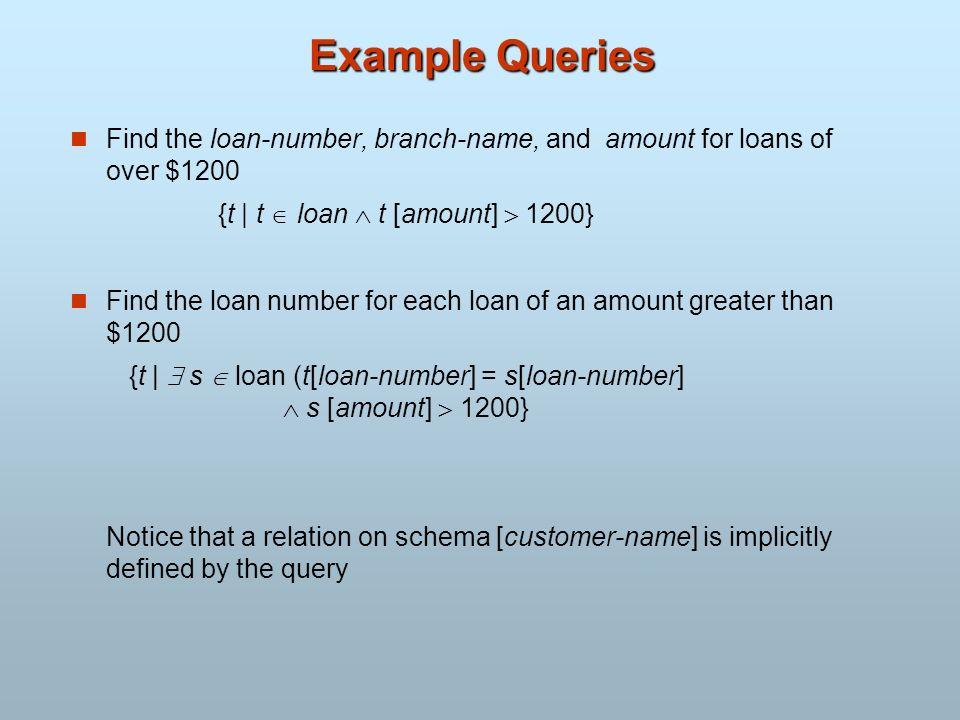 Example Queries Find the loan-number, branch-name, and amount for loans of over $1200. {t | t  loan  t [amount]  1200}